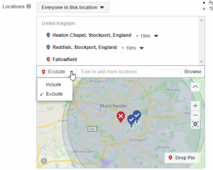 Facebook Include or Exclude Locations