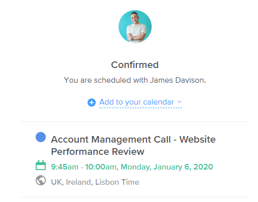 Calendly Confirmation