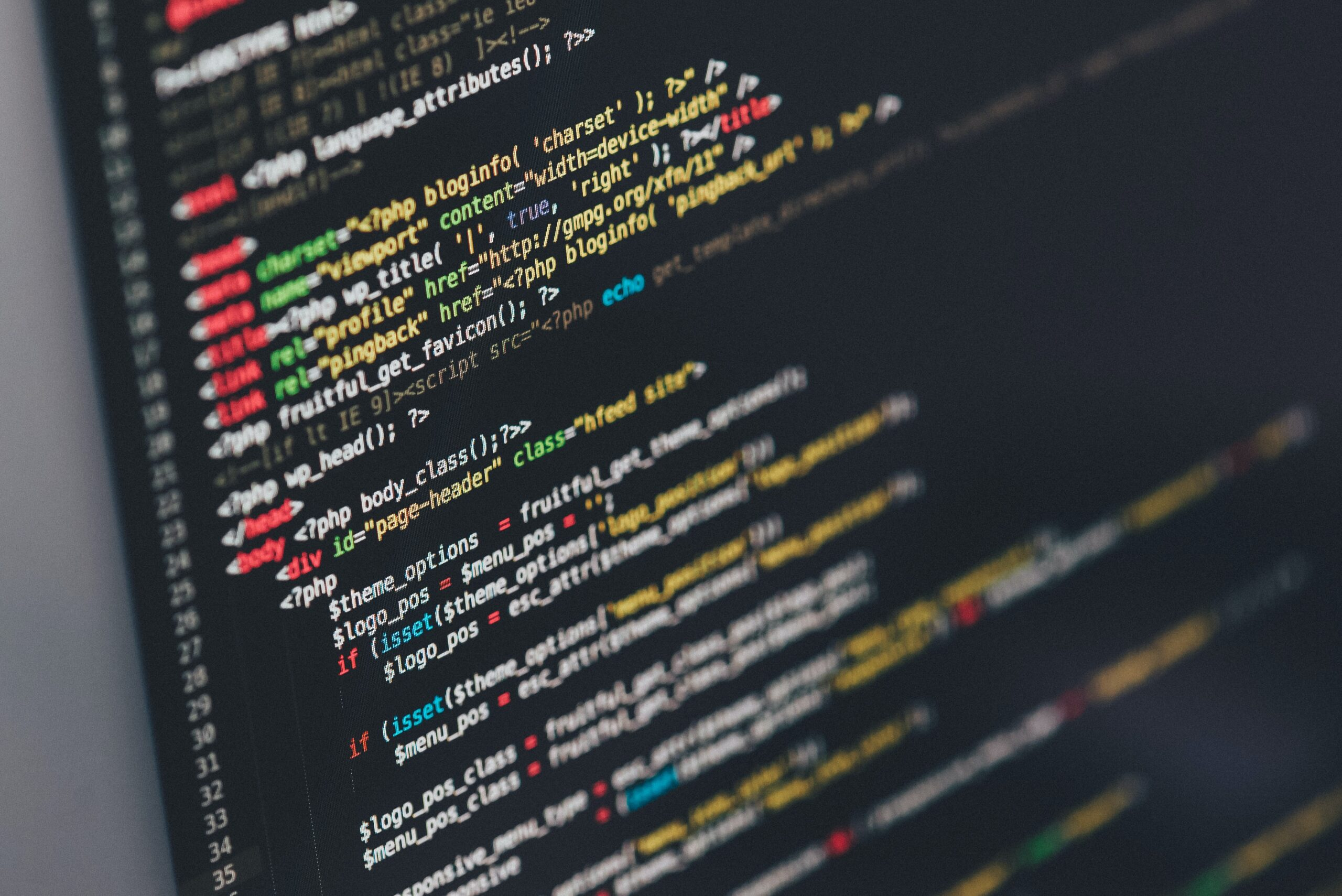 website coding on a screen